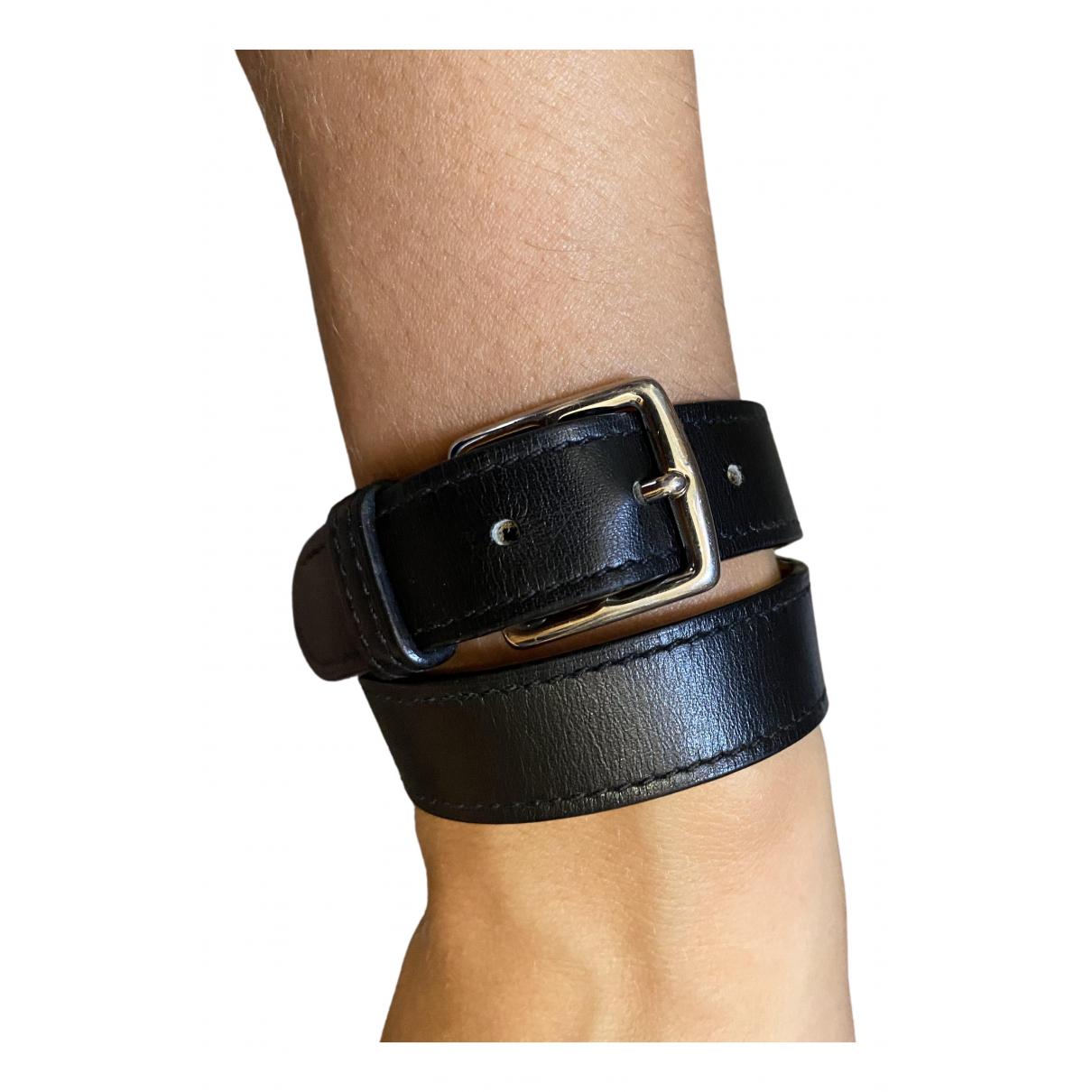 Hermes - Bracelet Etriviere pour femme en cuir - noir