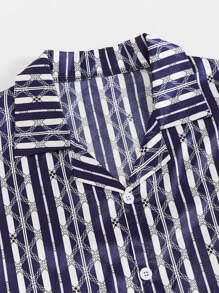 Men Geo & Striped Satin PJ Set