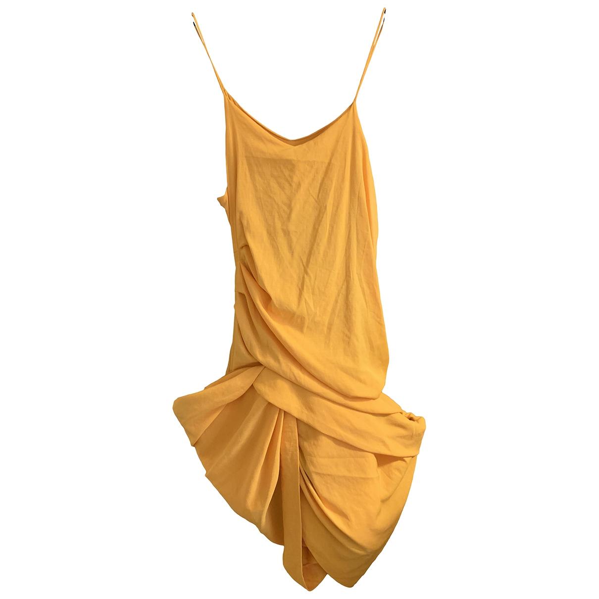 Jacquemus La Bomba Kleid in  Gelb Leinen