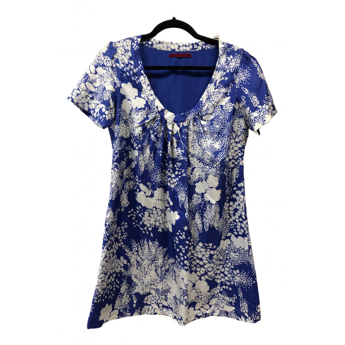 Velvet \N Kleid in  Blau Seide