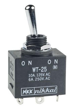 NKK Switches DPDT Toggle Switch, (On)-On, IP60, IP67, Panel Mount