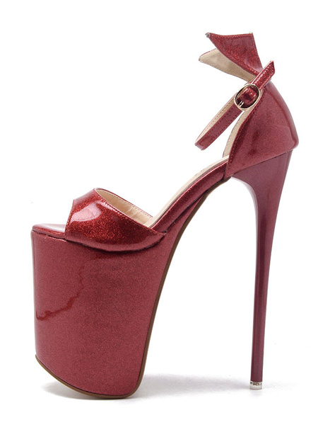 Milanoo Red Sexy Sandals Women Platform Peep Toe Bow Ankle Strap Sandal High Heel Sandals