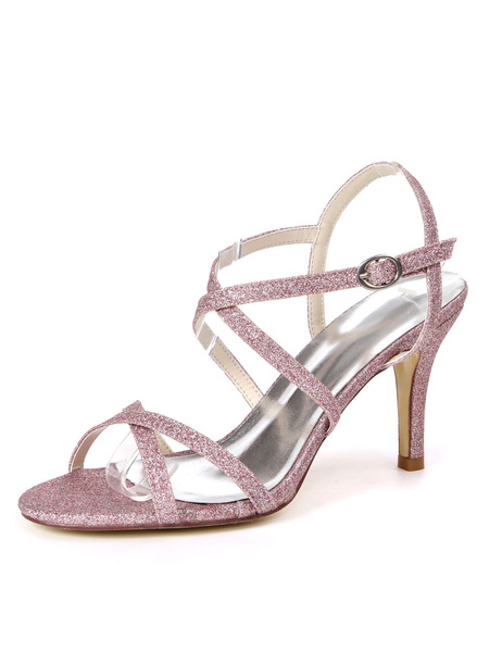 Milanoo Wedding Shoes Silver Sequined Cloth Buckle Open Toe Stiletto Heel Bridal Shoes