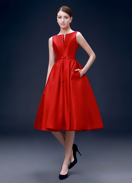 Milanoo Satin Cocktail Dress Red A Line Party Dresses Backless Notched Neckline Knee Length Prom Dress wedding guest dress