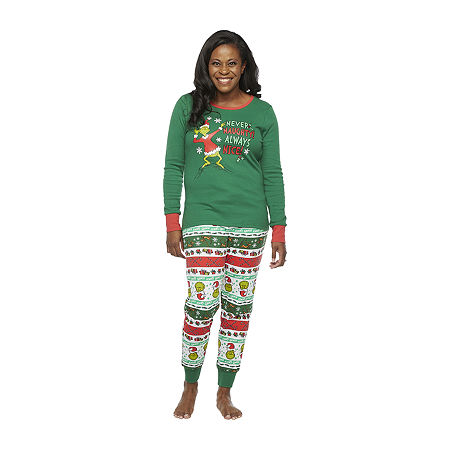 Dr. Seuss Grinch Holiday Family Womens-Tall Pant Pajama Set 2-pc. Long Sleeve, X-small Tall , Green