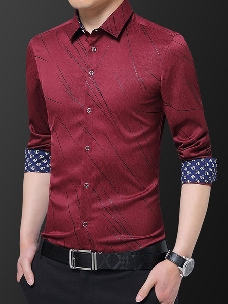 Milanoo Men Formal Shirt Plus Size Print Button Down Long Sleeve Dress Shirt