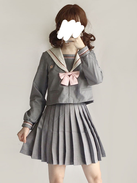 Milanoo Sailor Style Lolita Outfit Sakura Blossom Embroidered Grey Top With Pleated Skirt