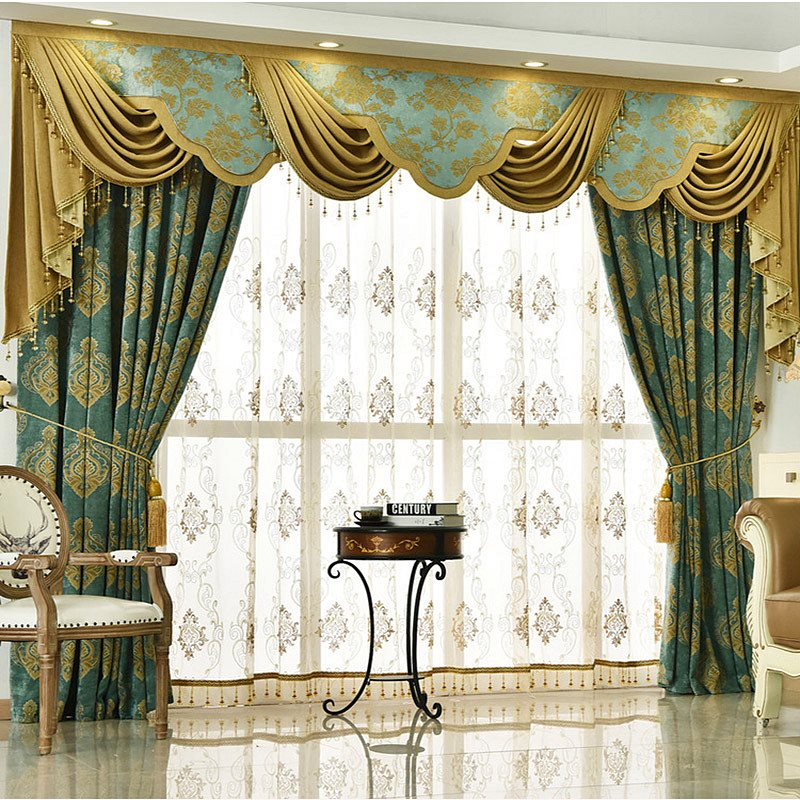 European Luxury Embroidered Decorative Custom Sheer Curtains for Living Room Bedroom