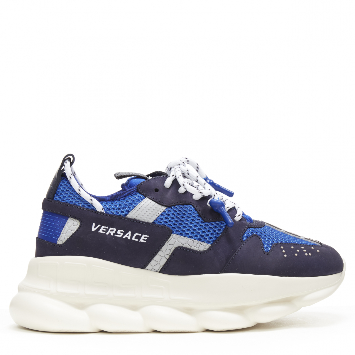 Versace Chain Reaction Blue Leather Trainers for Men 42 EU