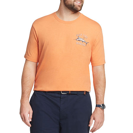 IZOD-Big and Tall Mens Crew Neck Short Sleeve Graphic T-Shirt, 2x-large Tall , Orange