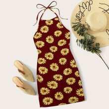 Self Tie Halterneck Sunflower Print Dress