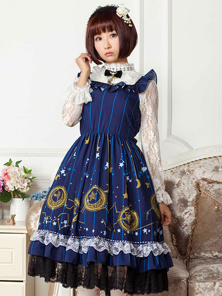 Milanoo Classic Lolita JSK Dress Printed Bows Ruffles Blue  Lolita Jumper Skirts