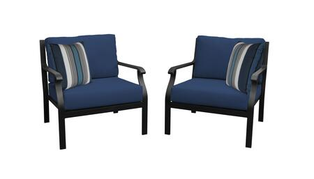 MADISON-02b-NAVY Kathy Ireland Homes and Gardens Madison Ave. 2 Piece Aluminum Patio Set 02b with 1 Set of Snow and 1 Set of Midnight