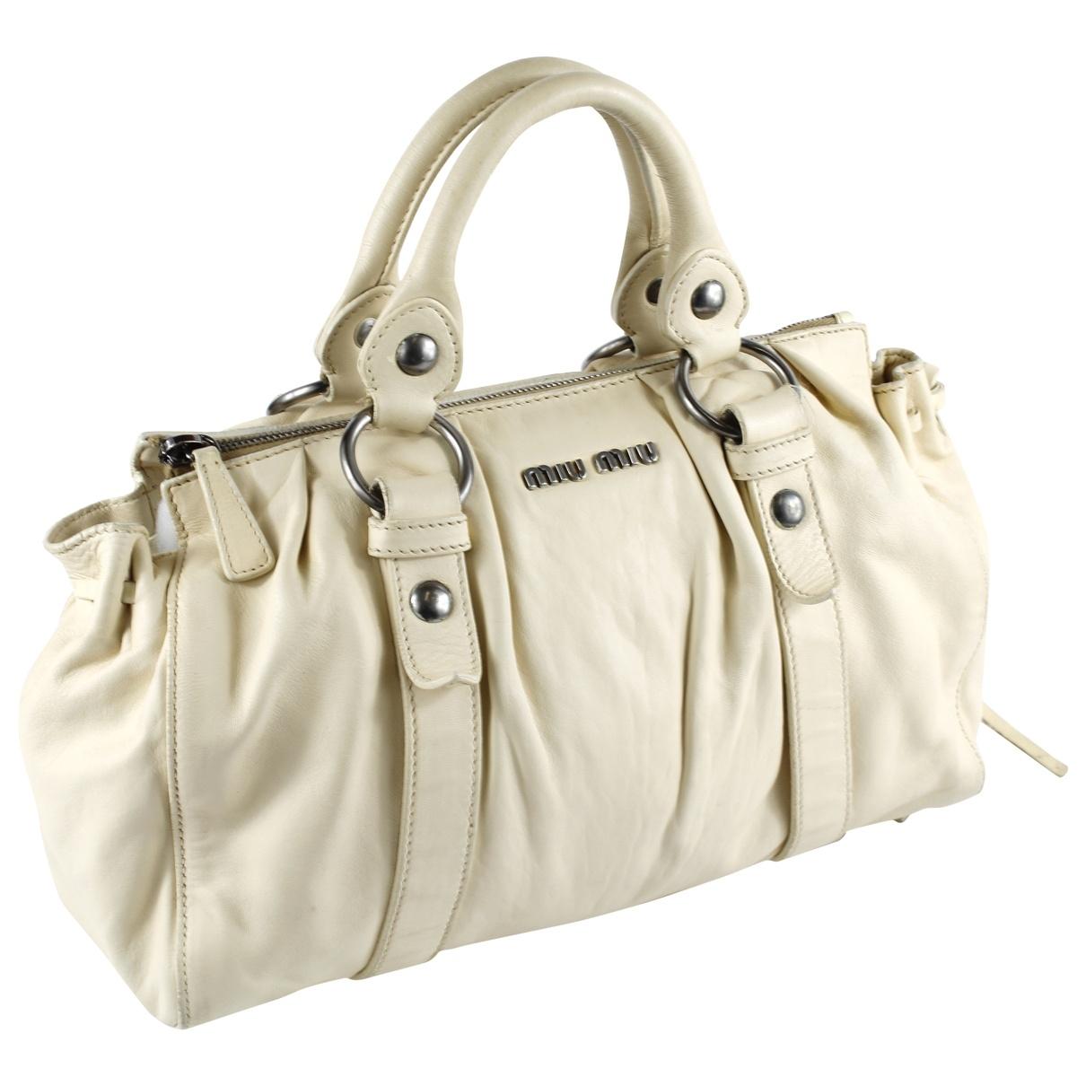 Miu Miu Bow bag Handtasche in  Beige Leder