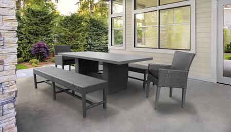 Belle Collection BELLE-DTREC-KIT-2DC2DB-C-BLACK Patio Dining Set With 1 Table  2 Arm Chairs  2 Benches - Wheat and Black