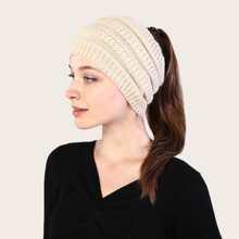 1 pieza sombrero con cola de caballo tejida