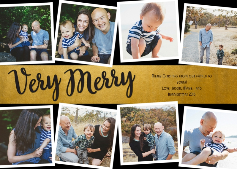 Christmas Photo Cards 5x7 Cards, Premium Cardstock 120lb with Rounded Corners, Card & Stationery -Gold Banded Merry
