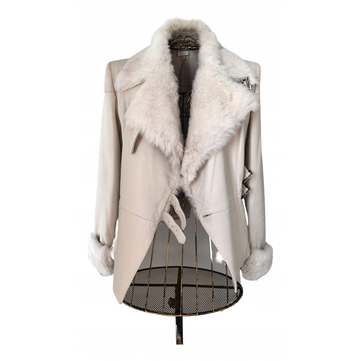 Armani Collezioni N Beige Fur jacket for Women 46 IT