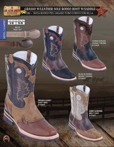 Mens Grasso w/ Leather Sole Rodeo Boot w/ Saddle Diff. Colors/Sizes