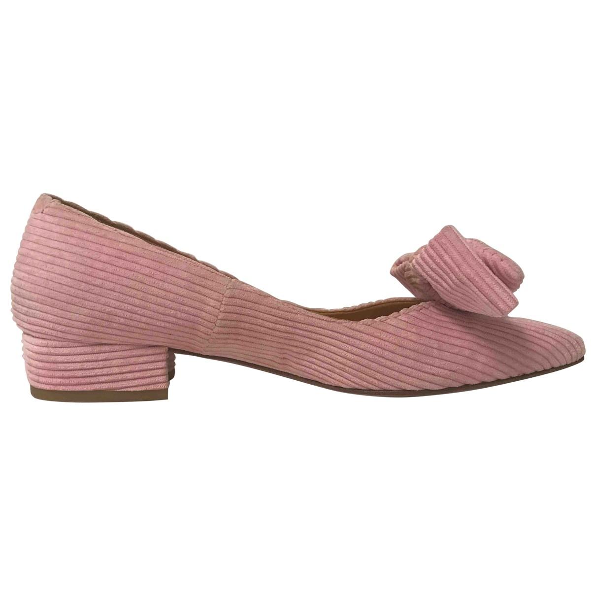 Ganni - Ballerines   pour femme en velours - rose