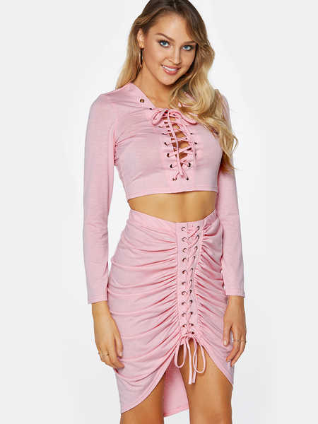 Yoins Pink Lace-up Design Long Sleeves Top And Pleated Design Skirt Two Piece Outfits