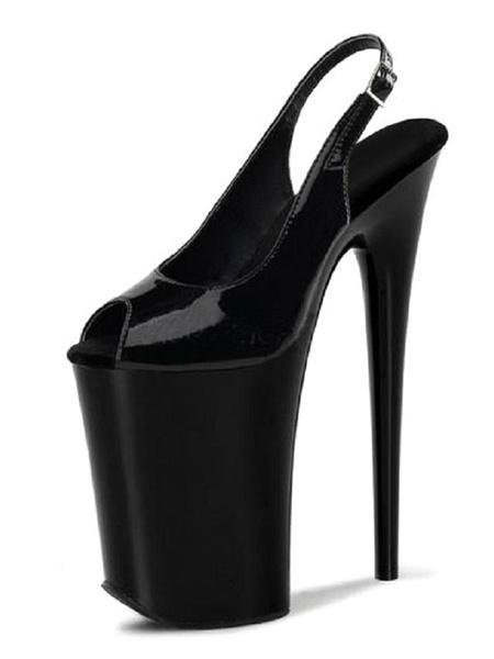 Milanoo Sandalias atractivas para mujer Zapatos de cuero negro PU Peep Toe Monk Correa Zapatos sexy