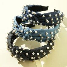 3 piezas aro de pelo con diseño de perla artificial