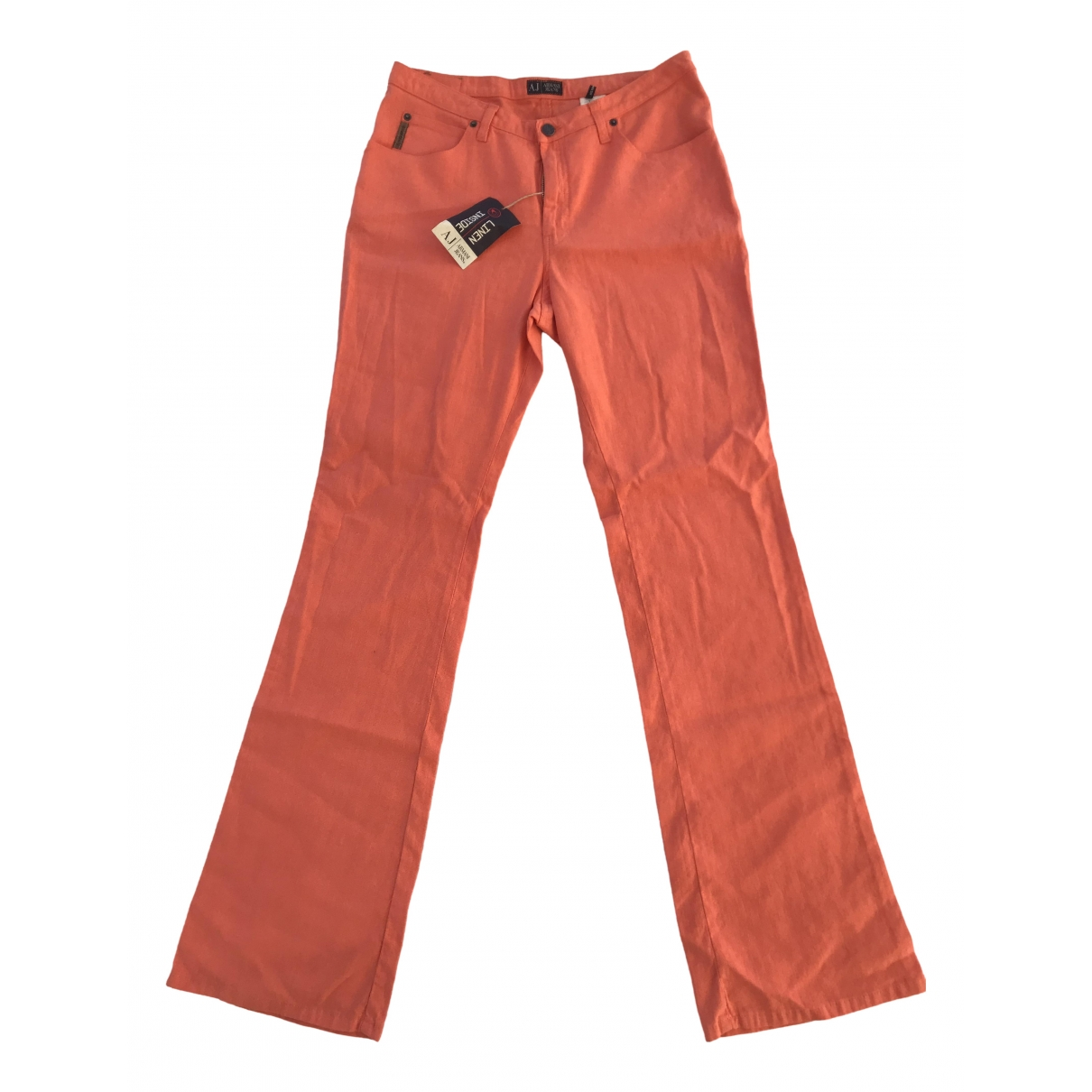 Armani Jeans \N Orange Linen Trousers for Women 42 FR