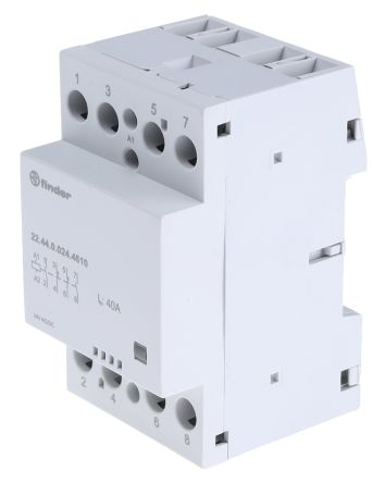 Finder , 24 V dc, 24 V ac Coil Non-Latching Relay DPDT, 40A Switching Current DIN Rail, 4 Pole