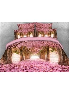 Pink Blossoming Tree Alley Printed Cotton 3D 4-Piece Bedding Sets/Duvet Covers