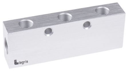 Legris 6 Outlet Pneumatic Manifold Threaded Fitting, G 3/8 G 1/4