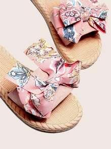Open Toe Bow Decor Slippers