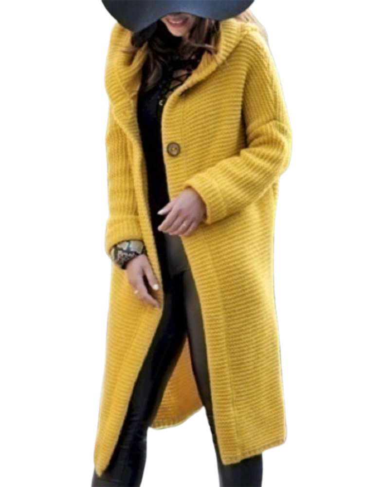 Casual Solid Color Hooded Button Plus Size Long Cardigan
