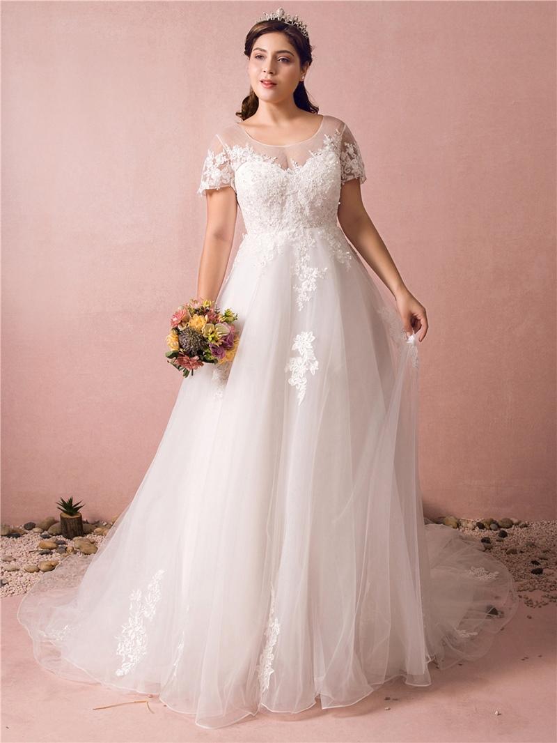 Ericdress A Line Appliques Plus Size Wedding Dress