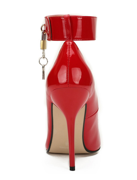 Milanoo Red Sexy Shoes High Heels Pointed Toe Metal Detail Stiletto Heel Ankle Strap Pumps