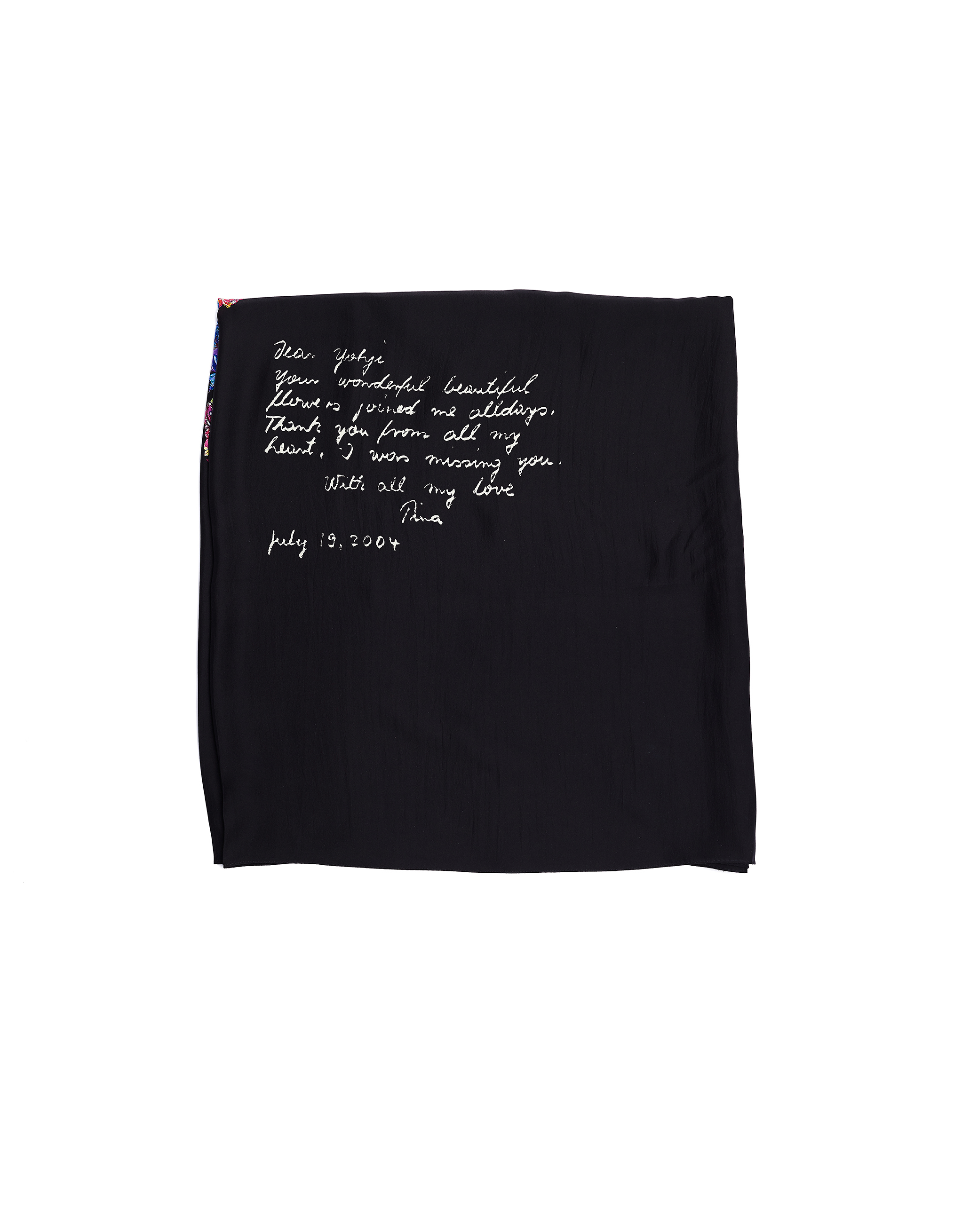 Yohji Yamamoto Black Sillk Flower Printed Scarf