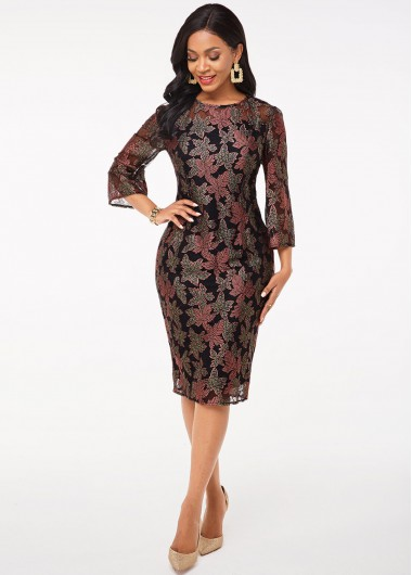 Black Dresses 3/4 Sleeve Leaf Lace Round Neck Dress - S