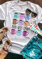 Mama Needs Coffee Leopard Cup T-Shirt Tee - Light Grey