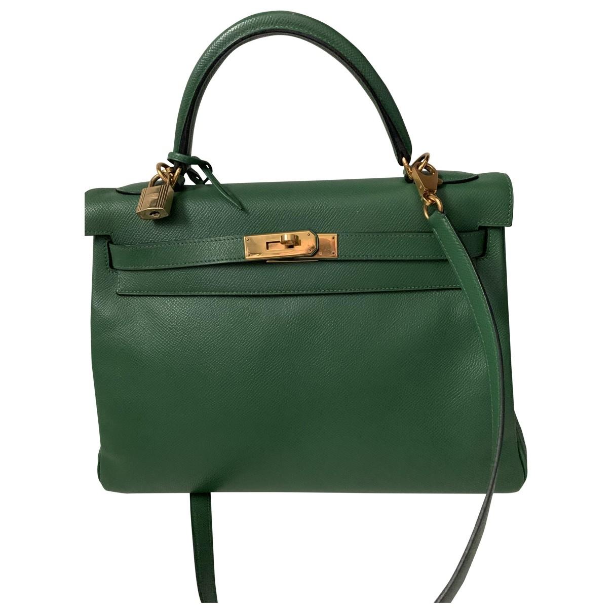 Hermes - Sac a main Kelly 32 pour femme en cuir - vert