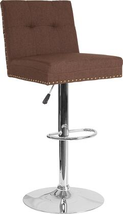 Ravello Collection DS-8411-BRN-F-GG Barstool with Adjustable Height  Swivel Seat  Chrome Pedestal Base  Contemporary Style  Footrest Support  Accent