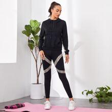 Contrast Sequin Drawstring Hoodie & Legging Set