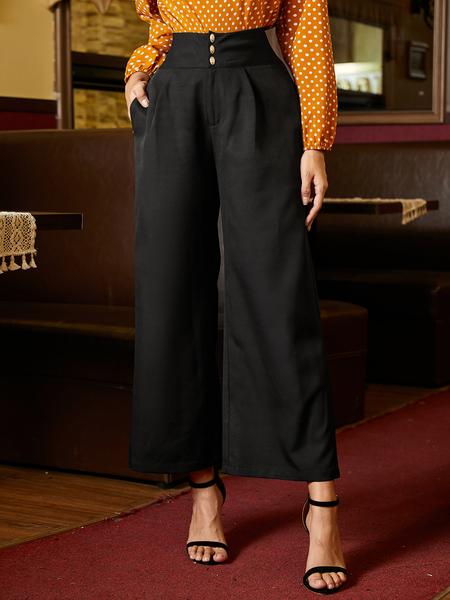 YOINS Black Side Pockets Wide Leg High-Waisted Pants