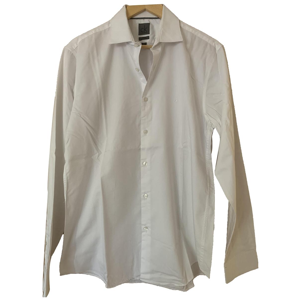 Calvin Klein - Chemises   pour homme en coton - blanc