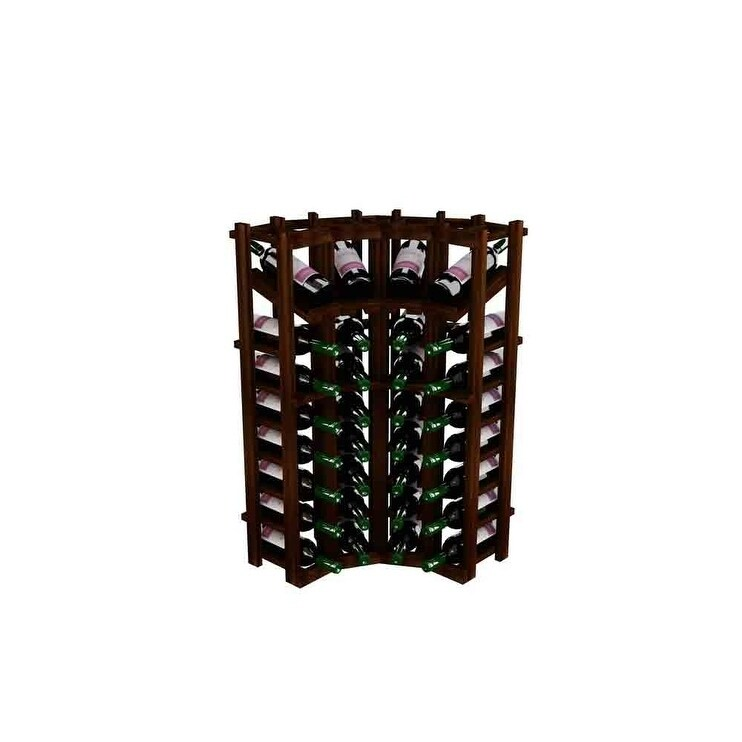 Winemaker Series Wine Rack - Individual Bottle Wine Rack - Curved Corner Bottom Stack with Display (Brown)