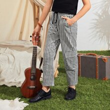 Pantalones de niños de guingan con bolsillo de cintura con cordon