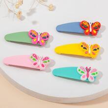 5pcs Toddler Girls Butterfly Decor Hair Clip