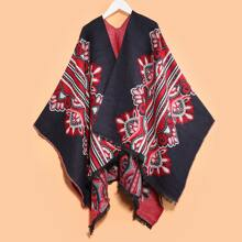 Tribal Flower Pattern Raw Hem Scarf