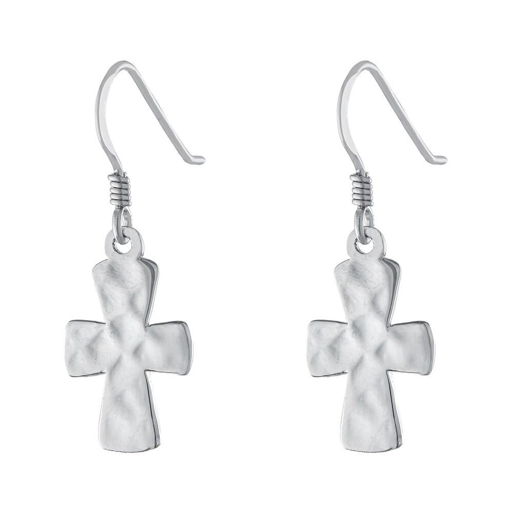 Sterling Silver Cross Drop Wire Earrings (White)