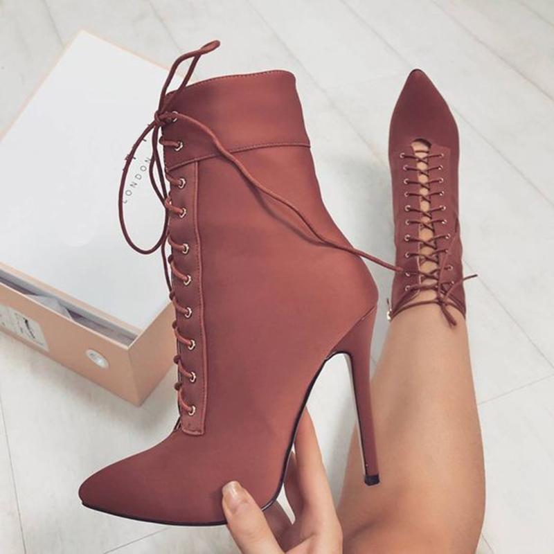Ericdress Lace-Up Stiletto Heel Women's Boots