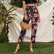 Paperbag Waist Floral Print Pants